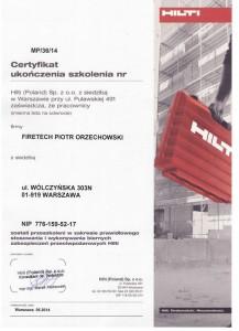 Zabezpieczenia ogniochronne - certyfikat ukończenia szkolenia