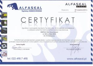 Certyfikat alfaseal dla firetech